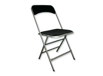 Location mobilier : chaise pliante noir et et argent Apolline - Ambassade Receptions