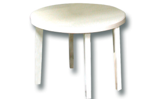 Location mobilier : gueridon pvc blanc 120cm - Ambassade Receptions