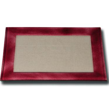 Location vaisselle : plat en verre rose indien - Ambassade Receptions