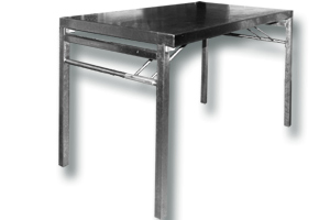 Location mobilier : table office inox 120x90cm- Ambassade Receptions